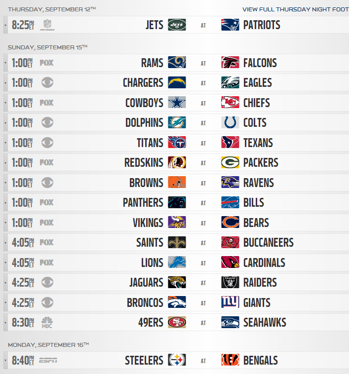 It is an image of Peaceful Nfl Schedule Week 2 Printable