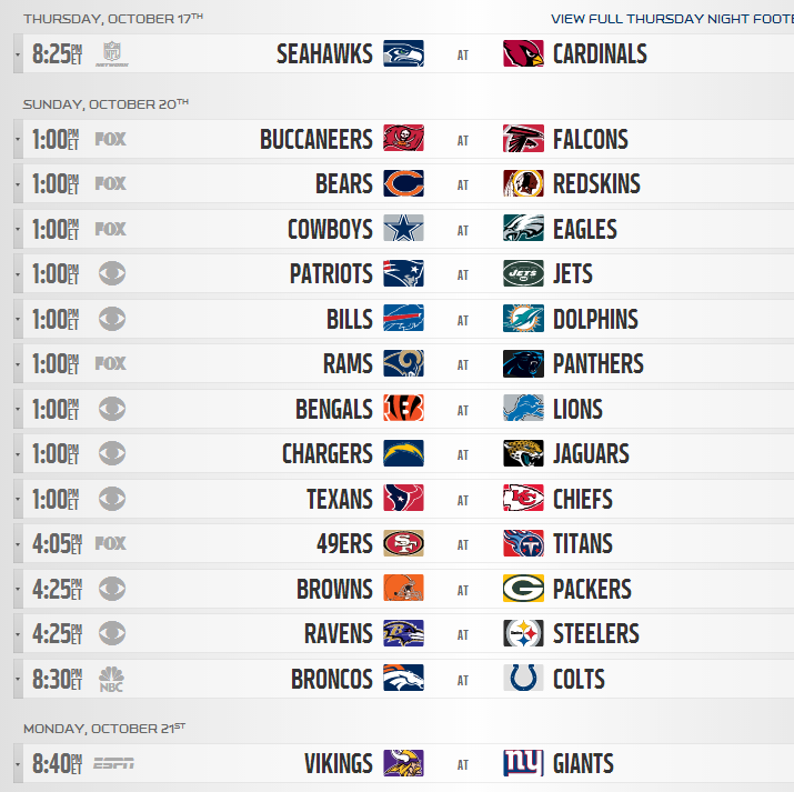 picture about Nfl Week 7 Printable Schedules titled NFL: Weekly Selections - Web page 2 - Sporting activities Conversation