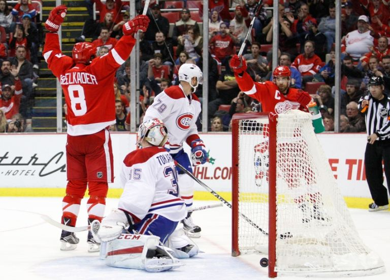 Wings avoid collapse to stay in playoff picture vs. Montreal, 4-3 Justin-abdelkader-dustin-tokarski-nhl-montreal-canadiens-detroit-red-wings-768x551