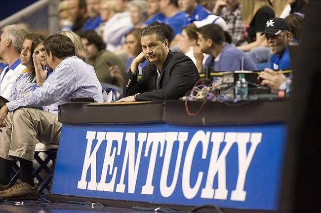 Oct 24, 2012; Lexington , KY, USA; Kentucky Wildcats head coach John Calipari watches his play during the Kentucky-Blue and White scrimmage at Rupp Arena. Mandatory Credit: Mark Zerof-US PRESSWIRE