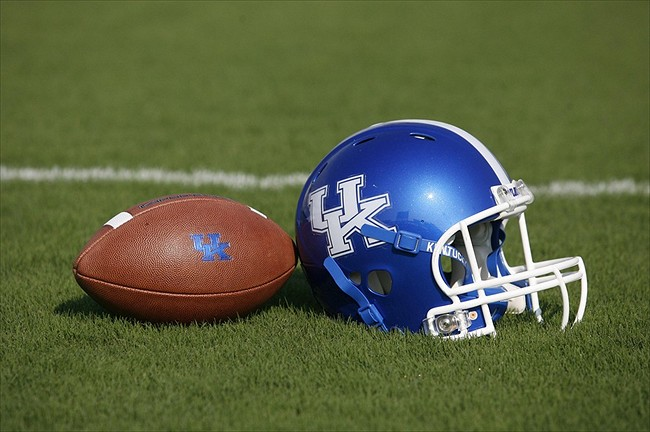 Aug 5, 2011; Lexington, KY USA; Kentucky Wildcats helmet and football sit on the field during media day at Commonwealth Stadium. Mandatory Credit: Mark Zerof-USA TODAY Sports