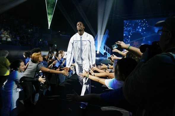 Oct. 14, 2011; Lexington, KY USA; Kentucky Wildcats forward Michael Kidd-Gilchrist (14) is introduced during big blue madness at Rupp Arena. Mandatory Credit: Mark Zerof-USA TODAY Sports