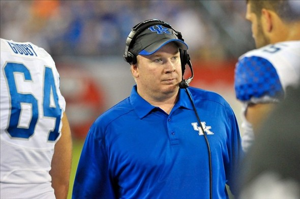 Aug 31, 2013; Nashville, TN, USA; Kentucky Wildcats head coach Mark Stoops on the sideline against the Western Kentucky Hilltoppers during the first half at LP Field. Mandatory Credit: Jim Brown-USA TODAY Sports