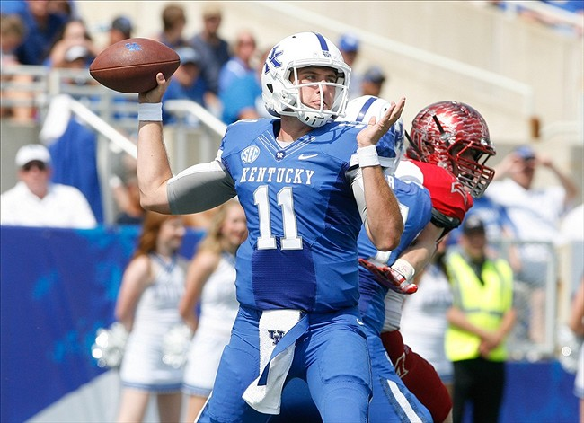 Sep 7, 2013; Lexington, KY, USA; Kentucky Wildcats quarterback Maxwell Smith(11) passes the ball against the Miami (Oh) Redhawks at Commonwealth Stadium. Mandatory Credit: Mark Zerof-USA TODAY Sports