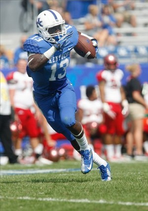 Sep 7, 2013; Lexington, KY, USA; Kentucky Wildcats wide receiver Jeff Badet(13) runs the ball against the Miami (Oh) Redhawks at Commonwealth Stadium. Mandatory Credit: Mark Zerof-USA TODAY Sports