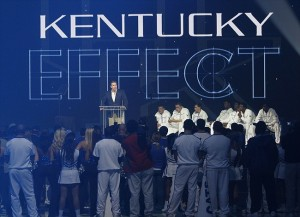 Oct. 14, 2011; Lexington, KY USA; Kentucky Wildcats head coach John Calipari speaks to fans in front of players during big blue madness at Rupp Arena. Image Credit: Mark Zerof-USA TODAY Sports