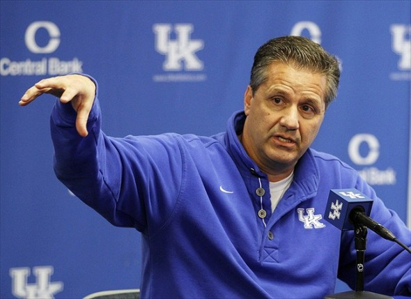 Oct 11, 2012; Lexington, KY, USA; Kentucky Wildcats head coach John Calipari at a press conference during media day at Memorial Coliseum. Credit: Mark Zerof-USA TODAY Sports