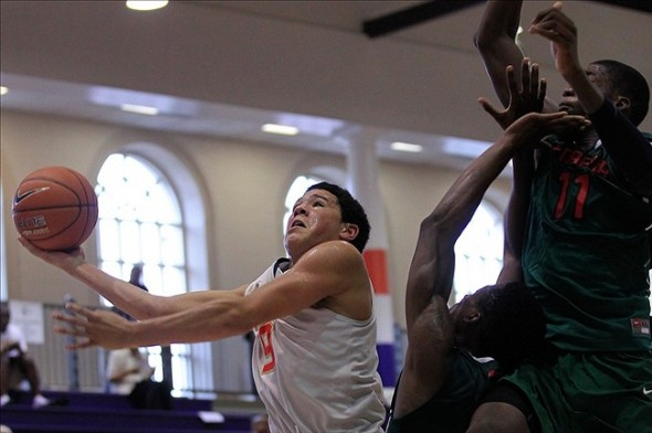 Jul 18, 2013; Washington, DC, USA; Team USA South player Devin Booker (9) shoots the ball against Team Pan-Africa during the Nike Global Challenge at Trinity University in Washington, DC. Mandatory Credit: Geoff Burke-USA TODAY Sports
