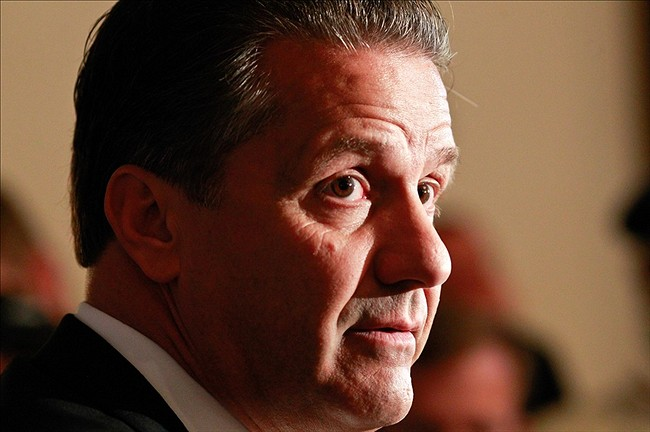 Oct 16, 2013; Birmingham, AL, USA; Kentucky Wildcats coach John Calipari talks with the media during the SEC media days at The Westin Birmingham. Mandatory Credit: Marvin Gentry-USA TODAY Sports