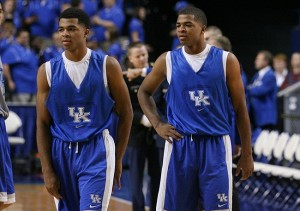 Oct 29, 2013; Lexington, KY, USA; Kentucky Wildcats guard Andrew Harrison (right) and Kentucky Wildcats guard Aaron Harrison (left) during the practice shoot around before the Kentucky Blue-White Scrimmage at Rupp Arena. Mandatory Credit: Mark Zerof-USA TODAY Sports