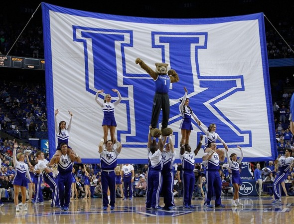 Nov 4, 2013; Lexington, KY, USA; The Kentucky Wildcats cheerleaders perform a routine during a time in the game against the Montevallo Falcons at Rupp Arena. Mandatory Credit: Mark Zerof-USA TODAY Sports