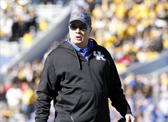 Nov 9, 2013; Lexington, KY, USA; Kentucky Wildcats head coach Mark Stoops during the game against the Missouri Tigers at Commonwealth Stadium. Missouri defeated Kentucky 47-17. Mandatory Credit: Mark Zerof-USA TODAY Sports