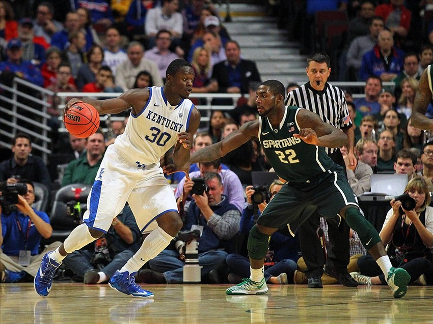 Nov 12, 2013; Chicago, IL, USA; Kentucky Wildcats forward Julius Randle (30) is defended by Michigan State Spartans guard/forward Branden Dawson (22) during the first half at the United Center. Image Credit: Dennis Wierzbicki-USA TODAY Sports