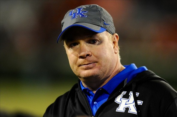 Nov 23, 2013; Athens, GA, USA; Kentucky Wildcats head coach Mark Stoops shown on the sideline against the Georgia Bulldogs during the second half at Sanford Stadium. Georgia defeated Kentucky 59-17. Mandatory Credit: Dale Zanine-USA TODAY Sports