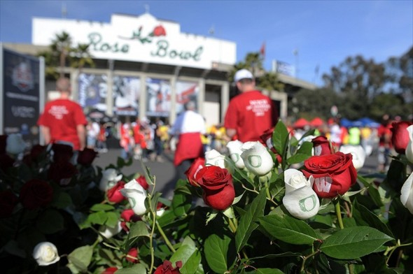 Jan 2, 2012; Pasadena, CA, USA; Roses stamped with Oregon Ducks and Wisconsin Badgers logos prior to the game in the 2012 Rose Bowl game at the Rose Bowl. Mandatory Credit: Kelvin Kuo-USA TODAY Sports