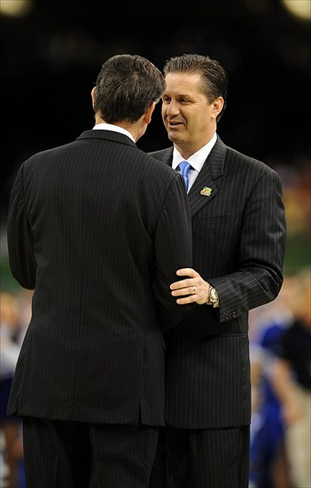 Mar 31, 2012; New Orleans, LA, USA; Kentucky Wildcats head coach John Calipari (right) greets Louisville Cardinals head coach Rick Pitino before the semifinals of the 2012 NCAA men