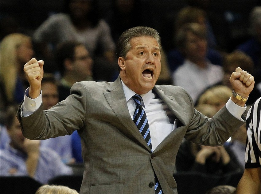 Dec 1, 2013; Brooklyn, NY, USA; Kentucky head coach John Calipari reacts in the first half against the Providence Friars at Barclays Center. Mandatory Credit: Noah K. Murray-USA TODAY Sports