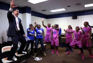 This photo was taken by UK Athletics. Coach Matthew Mitchell and team celebrate win over Tennessee.