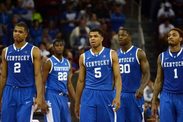 Mar 1, 2014; Columbia, SC, USA; Kentucky Wildcats players walk on the court in the second half against the South Carolina Gamecocks at Colonial Life Arena. South Carolina won 72-67. Mandatory Credit: Rob Kinnan-USA TODAY Sports