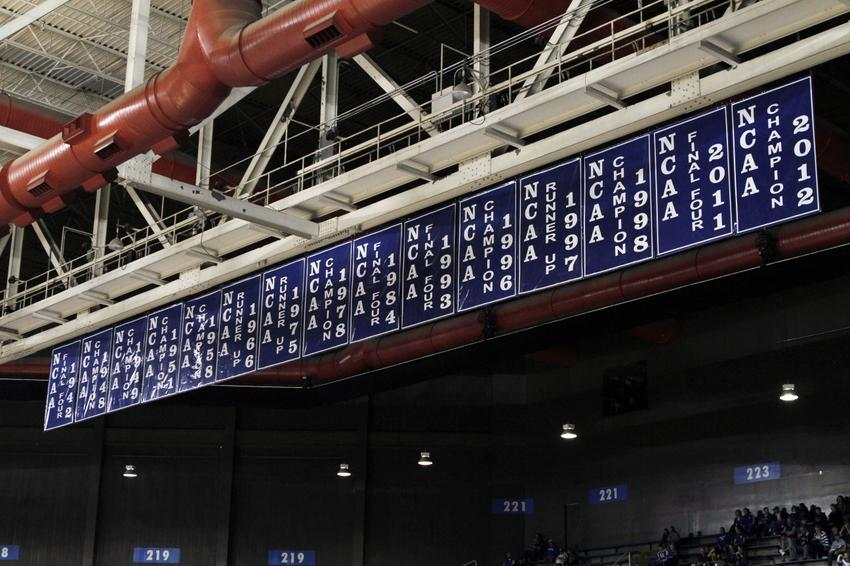 Feb 23, 2013; Lexington, KY, USA; A row of banners hang in Rupp Arena before the game against the Kentucky Wildcats and the Missouri Tigers. Mandatory Credit: Mark Zerof-USA TODAY Sports