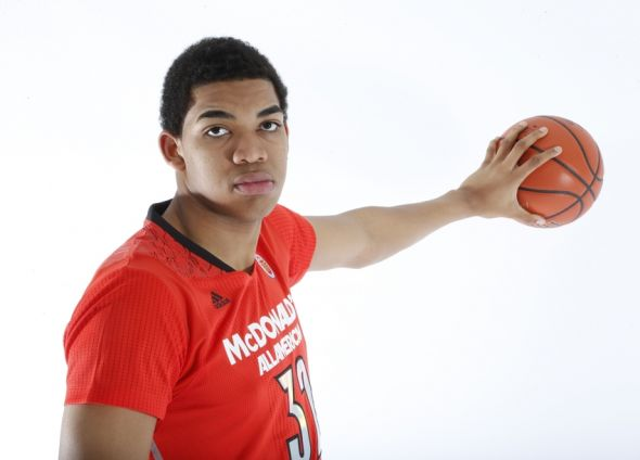 Mar 29, 2014; Chicago, IL, USA; McDonalds High School All American center Karl-Anthony Towns (32) poses for photos on portrait day at the Marriott Hotel . Image Credit: Brian Spurlock-USA TODAY Sports