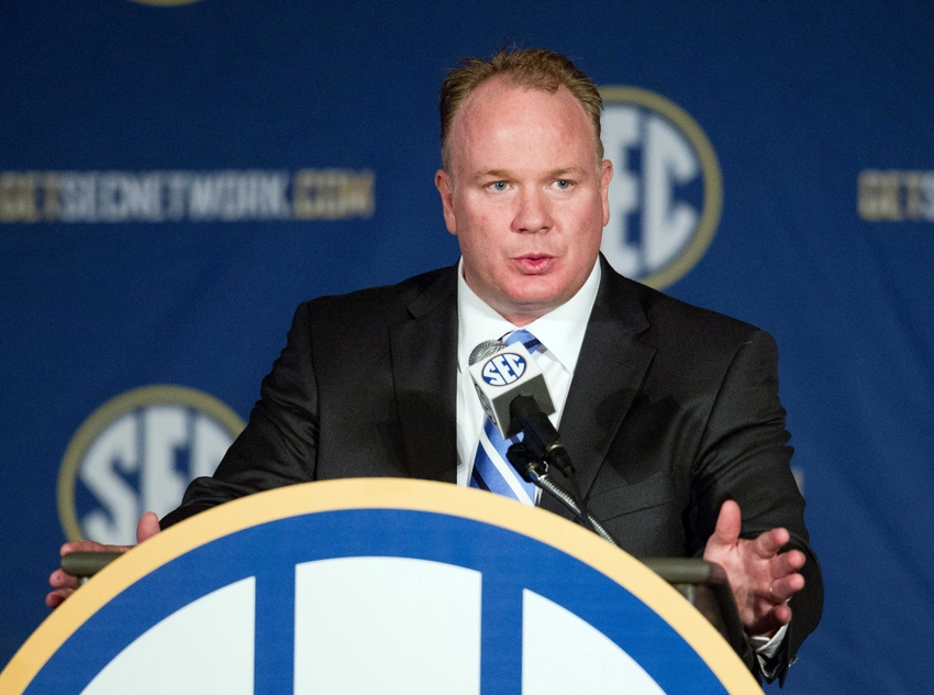 Jul 17, 2014; Hoover, AL, USA; Kentucky Wildcats head coach Mark Stoops talks to the media during the SEC football media days at the Wynfrey Hotel. Mandatory Credit: Marvin Gentry-USA TODAY Sports