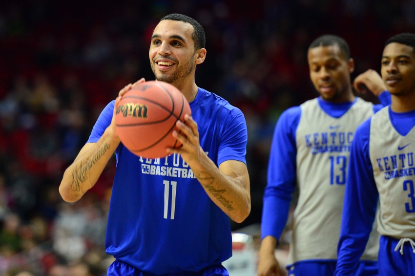 Mar 16, 2016; Des Moines, IA, USA; Kentucky Wildcats guard Mychal Mulder (11) shoots the ball during a practice day before the first round of the NCAA men