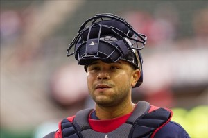 Sep 15, 2013; Minneapolis, MN, USA; The Minnesota Twins catcher Josmil Pinto (43) walks to the dugout before the game against the Tampa Bay Rays at Target Field. Twins win 6-4. Mandatory Credit: Brad Rempel-USA TODAY Sports