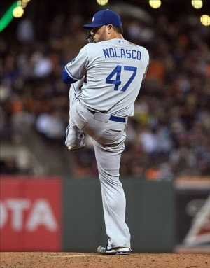 Sep 25, 2013; San Francisco, CA, USA; Los Angeles Dodgers starting pitcher Ricky Nolasco (47) pitches against the San Francisco Giants during the third inning at AT