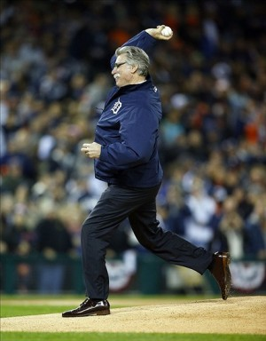 Oct 17, 2013; Detroit, MI, USA; Detroit Tigers former pitcher Jack Morris throws out the ceremonial first pitch prior to game five of the American League Championship Series baseball game at Comerica Park. Mandatory Credit: Rick Osentoski-USA TODAY Sports