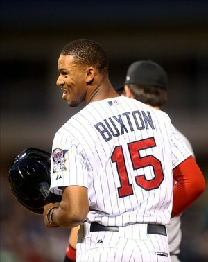 Nov 2, 2013; Surprise, AZ, USA; Minnesota Twins center Byron Buxton reacts against East during the Fall Stars Game at Surprise Stadium. Mandatory Credit: Mark J. Rebilas-USA TODAY Sports