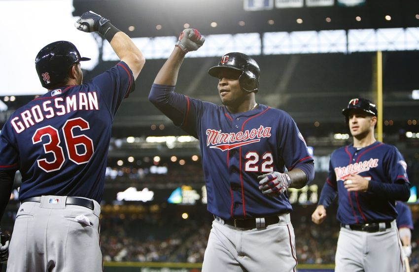 Miguel-sano-robbie-grossman-joe-mauer-mlb-minnesota-twins-seattle-mariners-850x552