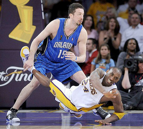 Holding another players foot is apparently legal in basketball (according to Bill Simmons)