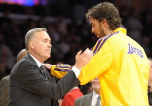 Nov 20, 2012; Los Angeles, CA, USA; Los Angeles Lakers coach Mike D