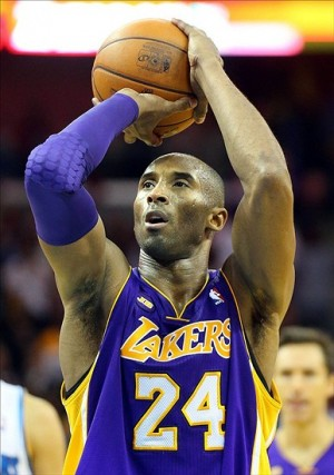 Mar 6, 2013; New Orleans, LA, USA; Los Angeles Lakers guard Kobe Bryant (24) shoots free throws against the New Orleans Hornets during the fourth quarter at the New Orleans Arena. Los Angeles defeated New Orleans 108-102. Mandatory Credit: Crystal LoGiudice-USA TODAY Sports