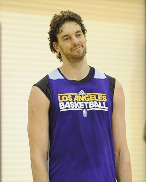 November 15, 2012; El Segundo, CA, USA; Los Angeles Lakers center Pau Gasol (16) works out before the press conference to introduce new head coach Mike D