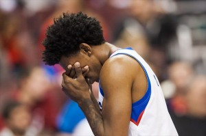 Nov 18, 2012; Philadelphia, PA, USA; Philadelphia 76ers guard Nick Young (1) holds his head as he walks to the bench late in the third quarter against the Cleveland Cavaliers at the Wachovia Center. The Sixers defeated the Cavaliers 86-79. Mandatory Credit: Howard Smith-USA TODAY Sports