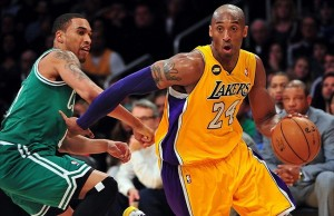 February 20, 2013; Los Angeles, CA, USA; Los Angeles Lakers shooting guard Kobe Bryant (24) moves to the basket against the Boston Celtics during the second half at Staples Center. Mandatory Credit: Gary A. Vasquez-USA TODAY Sports
