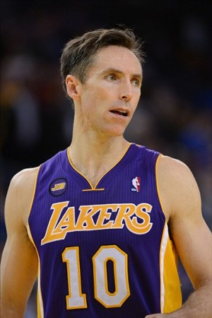 March 25, 2013; Oakland, CA, USA; Los Angeles Lakers point guard Steve Nash (10) looks on during the fourth quarter against the Golden State Warriors at Oracle Arena. The Warriors defeated the Lakers 109-103. Mandatory Credit: Kyle Terada-USA TODAY Sports