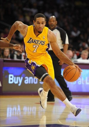 Oct 6, 2013; Los Angeles, CA, USA; Los Angeles Lakers guard Xavier Henry (7) drives the lane during the first half against the Denver Nuggets at Staples Center. Mandatory Credit: Christopher Hanewinckel-USA TODAY Sports