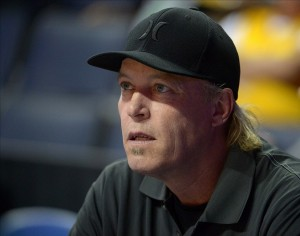 Oct 8, 2013; Ontario, CA, USA; Los Angeles Lakers executive vice president of player personnel Jim Buss attends the game against the Denver Nuggets at Citizens Business Bank Arena. The Lakers defeated the Nuggest 90-88. Mandatory Credit: Kirby Lee-USA TODAY Sports