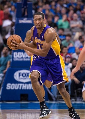 Nov 5, 2013; Dallas, TX, USA; Los Angeles Lakers shooting guard Wesley Johnson (11) brings the ball up court against the Dallas Mavericks during the game at the American Airlines Center. The Mavericks defeated the Lakers 123-104. Mandatory Credit: Jerome Miron-USA TODAY Sports