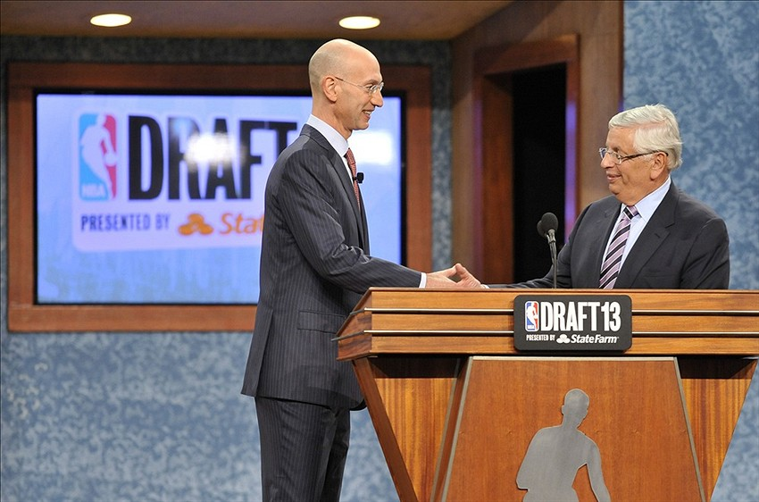 Jun 27, 2013; Brooklyn, NY, USA; NBA commissioner David Stern (right) shakes hands with deputy commissioner Adam Silver after the first round of the 2013 NBA Draft at the Barclays Center. Mandatory Credit: Joe Camporeale-USA TODAY Sports
