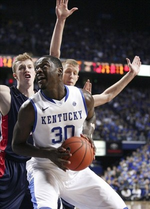 Dec 21, 2013; Lexington, KY, USA; Kentucky Wildcats forward Julius Randle (30) shoots the ball against the Belmont Bruins in the second half at Rupp Arena. Kentucky defeated Belmont 93-80. Mandatory Credit: Mark Zerof-USA TODAY Sports
