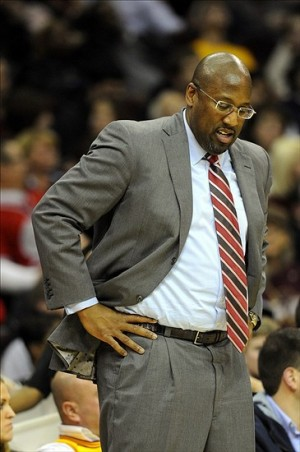 Dec 20, 2013; Cleveland, OH, USA; Cleveland Cavaliers head coach Mike Brown reacts during the game against the Milwaukee Bucks at Quicken Loans Arena. Mandatory Credit: Ken Blaze-USA TODAY Sports