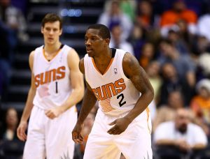 Dec 13, 2013; Phoenix, AZ, USA; Phoenix Suns guard Eric Bledsoe (2) and Goran Dragic against the Sacramento Kings at US Airways Center. The Suns defeated the Kings 116-107. Mandatory Credit: Mark J. Rebilas-USA TODAY Sports