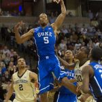 Mar 5, 2014; Winston-Salem, NC, USA; Duke Blue Devils forward Rodney Hood (5) goes up for a dunk during the second half against the Wake Forest Demon Deacons at Lawrence Joel Veterans Memorial Coliseum. Wake defeated Duke 82-72. Mandatory Credit: Jeremy Brevard-USA TODAY Sports