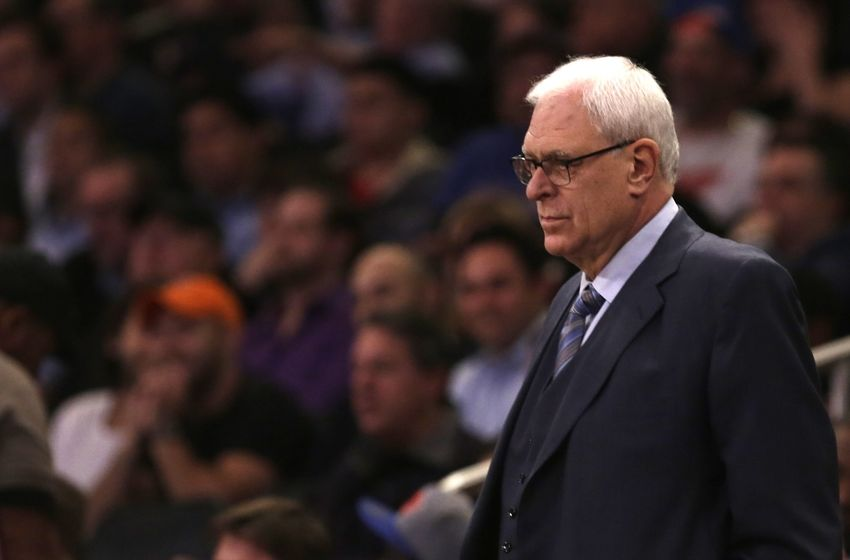 Dec 16, 2015; New York, NY, USA; New York Knicks general manager Phil Jackson looks on during a stop in play against the Minnesota Timberwolves during the first half of an NBA basketball game at Madison Square Garden. Mandatory Credit: Adam Hunger-USA TODAY Sports