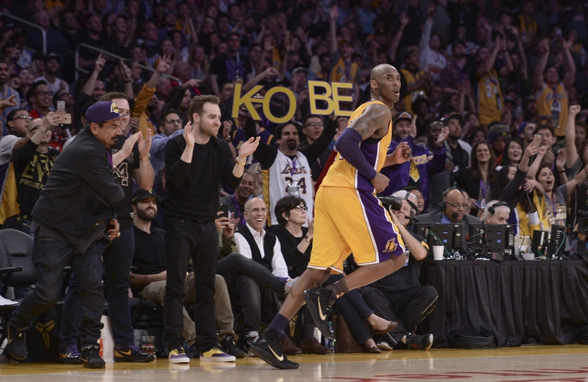 14601710c1e Apr 13, 2016; Los Angeles, CA, USA; Fans cheer after Los Angeles Lakers  forward Kobe Bryant (24) hits a jump shot during the third quarter against  the Utah ...