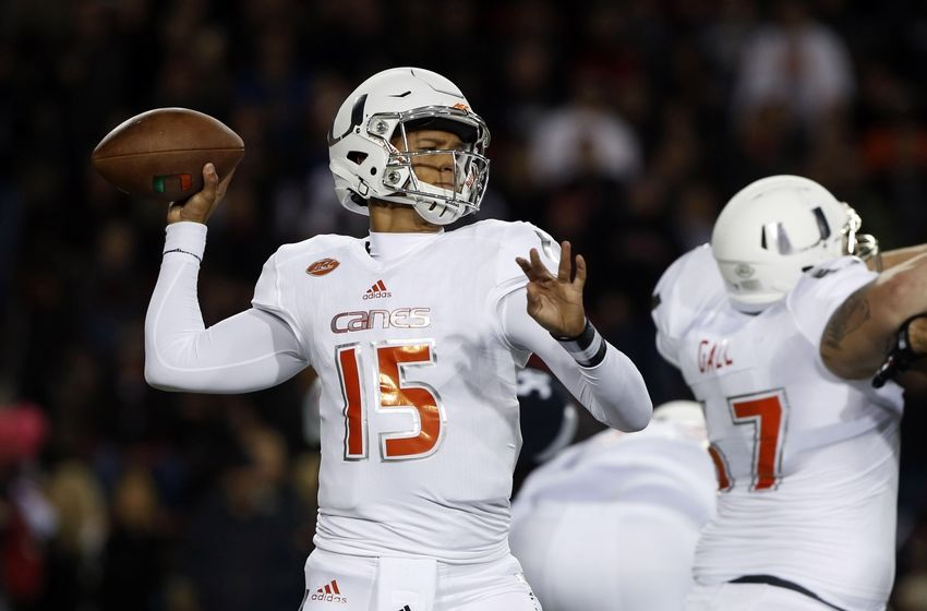 Oct 1, 2015; Cincinnati, OH, USA; Miami Hurricanes quarterback Brad Kaaya (15) throws a pass in the first half against the Cincinnati Bearcats at Nippert Stadium. Mandatory Credit: Aaron Doster-USA TODAY Sports